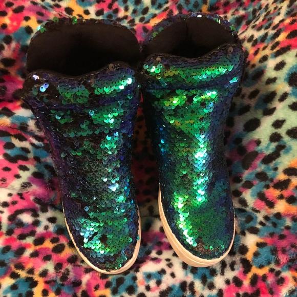 Mermaid Sequin Wedge Sneakers